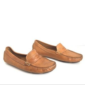 Mercanti Fiorentini Cognac Leather Driving Loafers